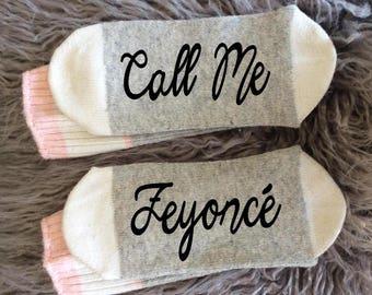 Bridal Gifts - Wedding - Beyonce - Socks - Wedding Socks - Call me Feyonce - Drunk and in Love - Just Drunk - Bridal Gifts - Novelty Socks
