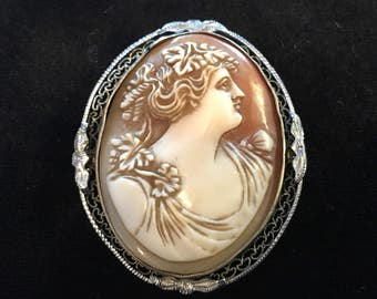 Old Antique Vintage Hand Carved Shell Cameo Brooch of Greek Goddess With Grapes Leaves