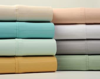 Bibb Home 1500 Thread Count Cotton Rich Pinstripe 6 Piece Sheet Set - 8 Colors