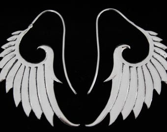 Wings earrings. Bathed in silver. Ethnic, tribal design. Tribal wings earrings. Silver plated. Ethnic jewelry.