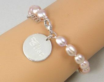 Personalized Pink Pearl Bracelet Engraved Sterling Silver Charm Bracelet Custom Bracelet for Her Mother Wife Girlfriend Gift