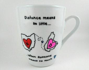 Hand Designed Custom Long Distance Friendship Mug Gift