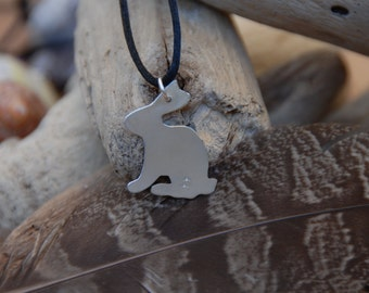 Pet Rabbit sitting / Easter necklace / Bunny necklace / Easter bunny / Silver bunny