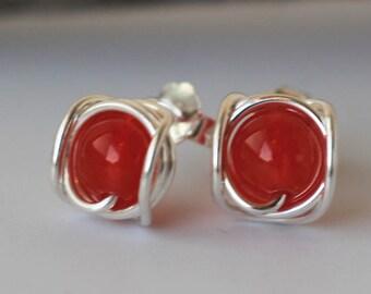 Sterling Silver Earrings, Stud Earrings, Small Post Earrings, Red Chalcedony Earrings, Bridesmaid Earrings, Wire Wrap Earrings Women Gift