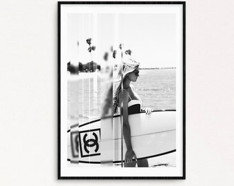 Surfer girl. Retro photography.  Surf photography poster. Fashion printable photography. black and white photo. Instant down