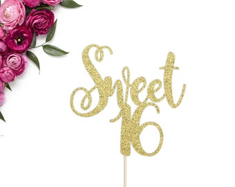 Sweet 16 Cake Topper | Sweet Sixteen Cake Topper | 16th Birthday | Sweet 16 Birthday Party | Sweet 16 Glitter Topper | Sweet 16 Party Decor