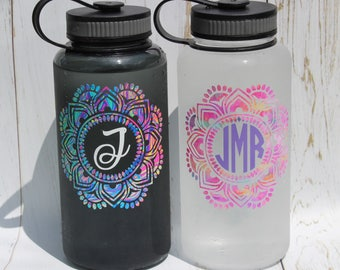 34oz Wide Mouth Monogram Water Bottle, Mandala Monogram Water Bottle, Monogram Water Bottle