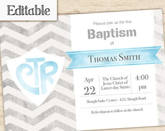 Baptism Invitation Boy Editable file, Editable PDF,  Boy Invitation, LDS Baptism Invite, No Photo Needed, Baptism Invitation Template