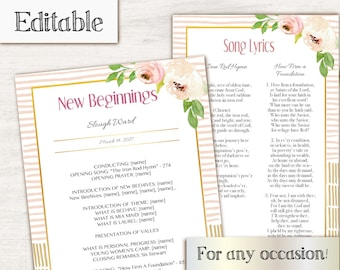 LDS Young Women Editable Program, Editable PDF, Instant Download, New Beginnings Program, YW in Excellence Program, lds Printable Digital