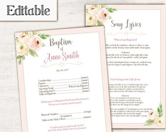 Baptism Program, Editable PDF, Printable Digital Handout Girl Baptism, flowers watercolor, Girl Baptism, white, clean, Baptism template