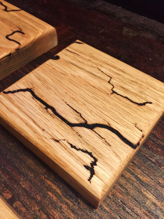 Oak Wood Coasters with Lichtenberg Figure Wood Burning -Set of 4