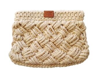 "Knit Bag ""Criss-Cross"" / Beige knitted bag / Crossbody / Handbag / Crochet bag / Purses and Handbags / Everyday Handbag"