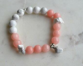 Semi precious Howlite & Jade (GLOW) charm with Howlite stone bracelet