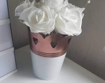 Copper and white heart storage pot