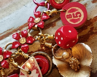 Vintage Upcyled Charm Bracelet, Red Charm Bracelet, Salvaged Vintage Jewelry Bracelet, Repurposed Charm Bracelet