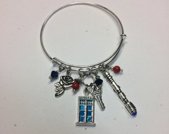 Doctor Who Bangle Charm Bracelet  - TARDIS, Rose and Sonic Screwdriver