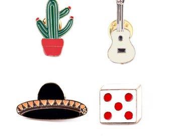 Mexican style enamel pin set #4 (4 pcs)