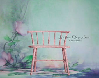 digital backdrop  background newborn baby girl sitter toddler family pink chair