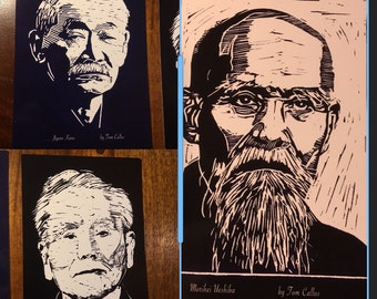 "Kano, Ueshiba, and Funakoshi 5"" x 7"" Cards, for Framing and/or Teaching Martial Arts History"