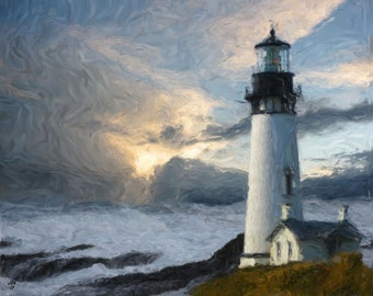 Lighthouse On Rock - Digital Impressionist Painting - Limited Edition Of 5 - Please Read The Description