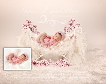 Iron Bed Chair with flower- Beautiful Digital background backdrops Newborn Photography Props download
