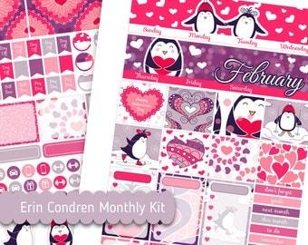 February Monthly Kit Erin Condren Penguin Printable Planner Stickers Happy Valentine's Day Heart Printable Stickers Erin Condren Monthly Kit