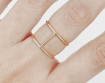 Minimalist Ring H Ring Gold Ring Unique Ring in 14K Solid Gold and 10K Solid Gold