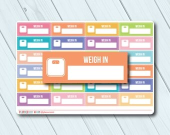 Weigh In Stickers - Fillable Tracker - Erin Condren Life Planner - ECLP - Happy Planner - Weight Loss - Scale - Weight - Matte or Glossy