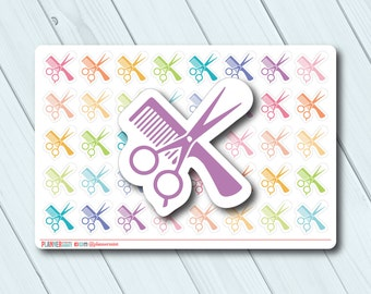 Haircut Planner Stickers - Icon - Erin Condren Life Planner - Happy Planner - Hair Appointment - Hair Cut - Scissors - Matte or Glossy