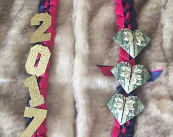 Ribbon Lei with Money Origami Hearts, Graduation Lei, Hawaiian Ribbon Lei
