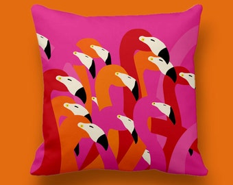 Flamingos pillow, Decorative pillow, Modern design cushion, Couch pillow cover, Accent pillow cover, Throw pillow cover, Chusion cover