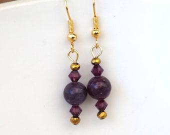 Lepidolite earrings, Gemstone earrings, gold earrings, Swarovski crystals, beaded earrings, mothers day gift, birthday gift, gift for women