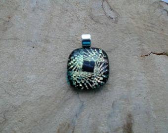 Black and gold dichroic fused glass pendant, unique, hand cut