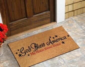 god bless america coir doormat