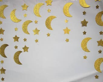 Moon and Stars Garland Gold Glitter Nursery Decoration 1th Birthday Kids Room Hanging Supplies 12 Feet