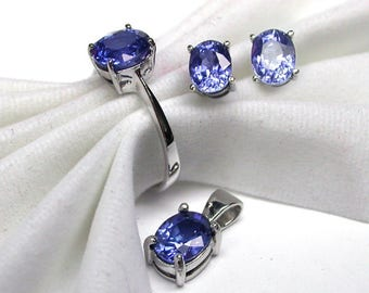 Wedding ring pendant earring blue sapphire ring silver sterling 925