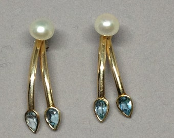 Aquamarine 14K Earrings, 14K Gold with Pearls