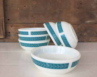 6 Vintage Pyrex Bowls, Cereal Bowls, Small Bowls, Bluegrass Pattern, Vintage Kitchen, Cottage Chic, Farmhouse Decor, Country Decor