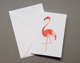 Flamingo Greeting Cards // 1 pack / 5 pack / 10 pack // A6 Charity Greetings Card // Flamingo Watercolour Cards