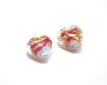 Murano Glass Bead, Murano 12mm Heart Beads, Pink Murano Bead, Venetian Glass Bead, Murano Hearts, Glass Heart Beads, Pair of Glass Hearts