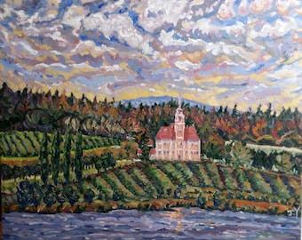 "Original Oil Painting, Church Beside Lake, 24""x30"", Impressionism art, oil painting, 161222"