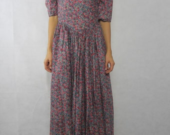 VINTAGE Floral 80s Puff Shoulder Maxi Dress Size XS-S