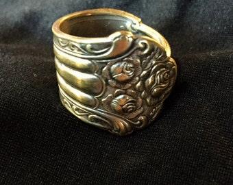 Floral/roses vintage spoon ring
