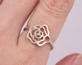Rose ring, flower ring, sterling silver rose ring, stacking ring, sterling silver stacking ring, friendship ring, floral ring, everyday ring