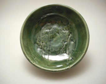 Green Queen Anne's Lace Ceramic Bowl, Handmade Pottery, Hand Thrown, Hand Painted (B0125)