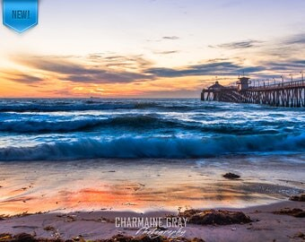 Beach,Ocean,Sunset,Wave,Love,Clouds,California,San Diego,Photo,Pier,Reflections,Wall Art,Canvas,Print,Imperial Beach,Orange,Blue,Fine Art