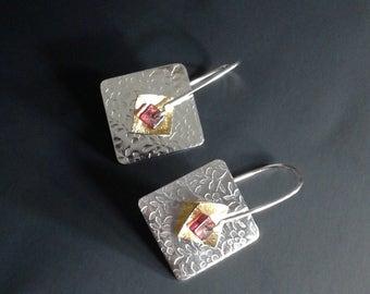 Pinwheel Earrings Sterling Silver & 14k gold filled with garnet Spinner Earring