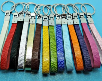 Faux Leather Key Chains Customize Them With Rhinestone Letters And Numbers Fits 10 mm Slider Charms.