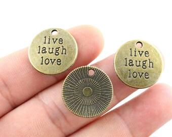 5 Live Laugh Love Charms Antique Bronze Tone Charms Affirmation Charms Charms Bracelet Bangle Bracelet Pendants #47
