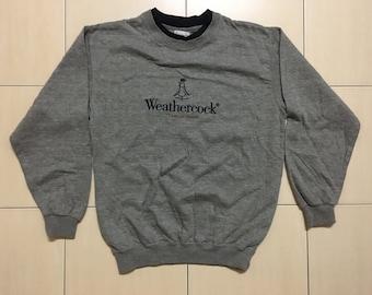 Vintage 90's WeatherCock Sport Classic Design Skate Sweat Shirt Sweater Varsity Jacket Size M #A539
